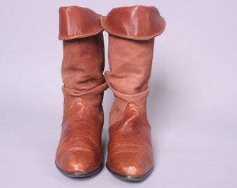 Vintage Leather + Suede Boots // 1980's Leather Boots flannel lined with vibram soles // womens size 8 boots