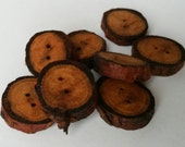 Natural wooden buttons, branch buttons, 2cm, larch root buttons, 2 x 2mm holes, dark orange buttons