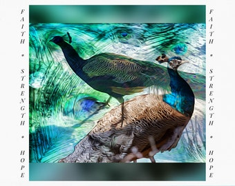 Greeting Cards for Breast Cancer Patients & Survivors, Peacock Painting, Card for Cancer Survivor, Peacock Art, digital painting, iPad Art