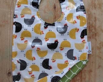Plastic Bib, Laminated Cotton Bib, Crumb Catcher Bib, Toddler Bib, Chickens Gift for Baby, Baby Birthday Gift, Alternative Baby, Baby Shower