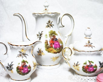 Demitasse Tea Party Tea Pot Cream and Sugar, Made In Bavaria, Instant Tea Party, Shabby Elegance