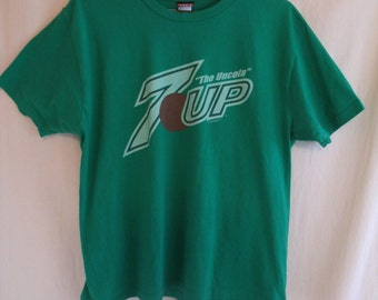 Vintage 80s 7up the Uncola Green T Shirt Sz L
