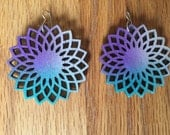 Purple, Turquoise and Silver Radial Flower Earrings