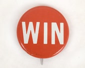 """Vintage Collectible Red & White Metal """"WIN"""" Pin / Button Political Button"""