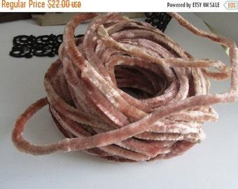 SALE Antique Velvet Cording Wire Peach Blush Trim Cording Pink Velvet Haberdashery Round Velvet Millinery Cord Ribbon Trim Tubing Velvet Not