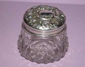 Art Nouveau Period Toiletry/Powder Glass Jar with Silver Lid