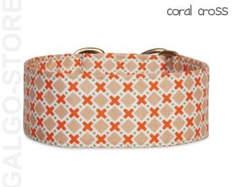 "martingale dog collar ""coral cross"", dog collar, greyhound collar, martingale, sighthound, whippet, galgo, greyhound, saluki, wide"