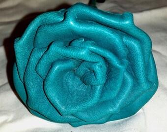 Long Stem Teal Green Deerskin Leather Rose