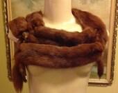 Mid century genuine mink fur five pelt stole collar scarf natural whole pelts fur wrap hollywood regency glam streampunk fashion outer wear