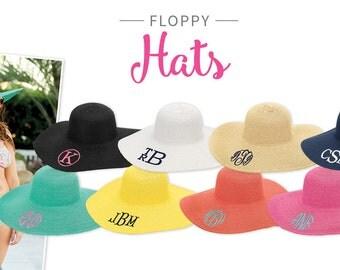 Monogram Beach Hat, Wide Brim Floppy Hat for Women in Black, Black Monogrammed Sun Hat