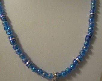 Scottish thistle necklace with blue irridescent beads