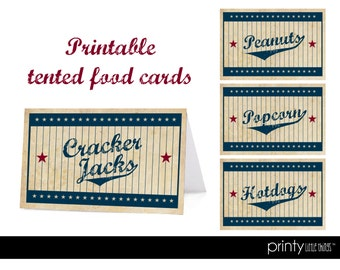 Vintage Baseball Customizable Tented Food Cards - Digital File