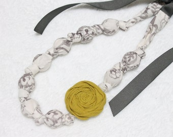 Fabric Necklace,Teething Necklace, Chomping Necklace, Nursing Necklace -  Sketch Gray  and Yellow Rose