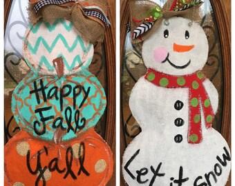 Reversible pumpkin/snowman burlap door hanger