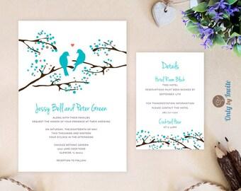 Turquoise Wedding Invitation and info card | Love bird wedding invitation kits printed | Romantic bird wedding cards | Teal Wedding