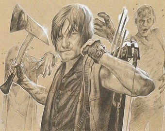 ORIGINAL DRAWING Daryl Dixon Walking Dead Zombies Father's Day Gift Sketch Fine Art Horror Fan Portrait 9 x 12 Inches