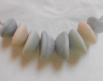 Beach Pebble Beads Ceramic Bead Set Handmade