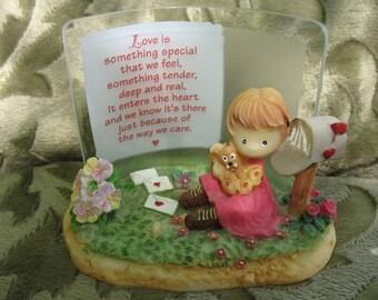 Love Resin Girl Puppy Flower Mailbox figurine-circa 1990's