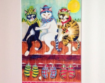 PRINT - Three Little Kittens, from original art