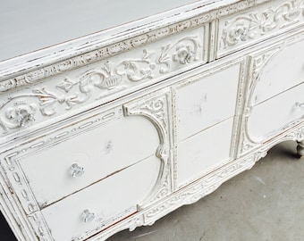 SOLD......Antique Shabby Chic Painted White Dresser Buffet Media Console