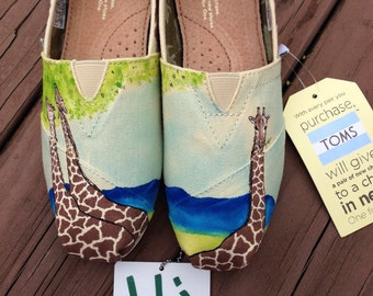 Giraffe Toms. Custom Painted Giraffe Themed Toms. Hand painted Toms Shoes.
