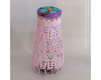 Crocheted lace on glass jar repurposed  - Textile art - recycling home decoration - (CL-2015-13)