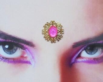 gold pink bindi - tribal fusion belly dance jewerly - rhinestone indian woman accessory
