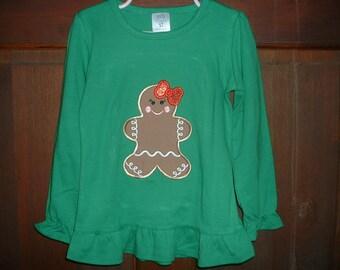 Green Long Sleeve Ruffle Shirt-Gingerbread Girl-Size 5T