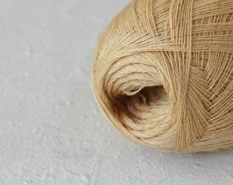 Cobweb pastel gold color wool yarn - haapsalu shawl yarn
