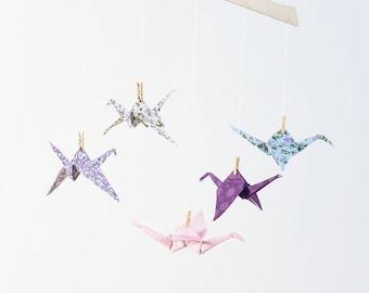 Purple & pink origami crane mobile, Fabric origami mobile, Crib mobile, developmental hanging mobile, baby girl nursery, paper crane