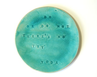 do or do not theres no try quote ceramic plate, tableware personalized dinner plates housewarming gift wedding gift for couple