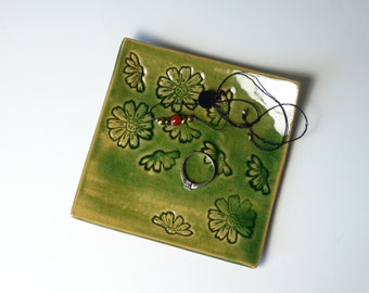 small jewelry plate, square small ceramic jewelry dish with pattern, gift idea for her, embosed pattern, keys holder, housewarming gift