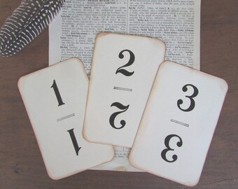 Wedding Table Numbers Vintage Flinch Cards Set of Numbers 1 Thru 15