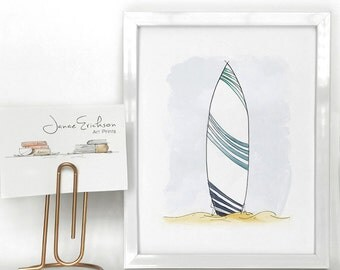 Surfboard Illustration – Wave Design – Beach Art Print 5x7 or 8x10
