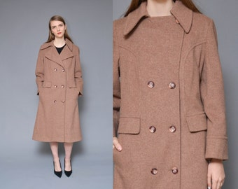 Wool peacoat 70s princess coat mauve purple double breasted preppy nautical minimal mod winter midi trench coat small medium