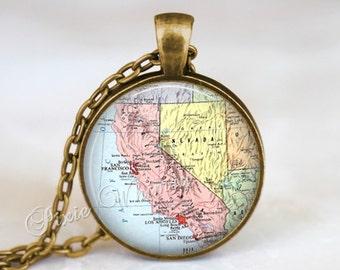 CALIFORNIA MAP Necklace, California Pendant, California Map Pendant, California Keychain, California Necklace, California Jewelry, CA Map