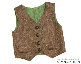 Vest Pattern, Boys VEST pattern, Toddler Vest Pattern, Girls Vest Pattern, Vest Sewing Pattern, Waistcoat Pattern, Simple Vest Pattern, PDF