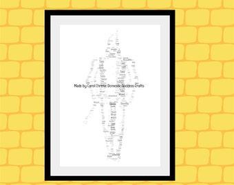Personalised Tin Man Print, Tin Man Word Art, Tin Man Word Cloud, Tin Man Wordle, Wizard of Oz Gift, Tin Anniversary Gift, 10th Anniversary