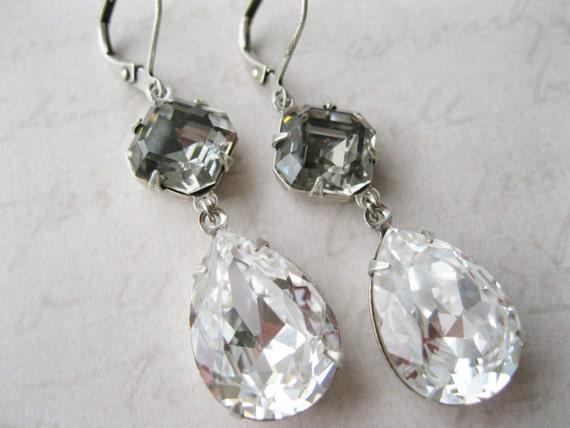 Grey and White Rhinestone drop Earrings Vintage Style Jewelry Crystal Earrings Gray Bridesmaid Swarovski Elements Black Diamond