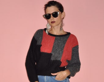Vintage 80s Black Gray Red Wool Blend Batwing Geometric Colorblock Sweater