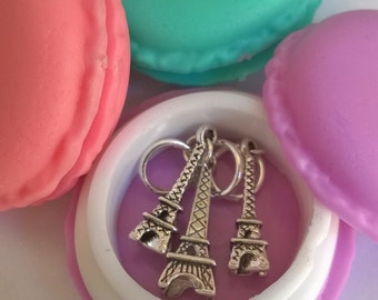 Eiffel Tower Stitch Markers with lavender Macaron case