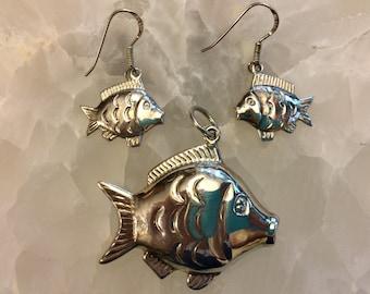 Sterling Silver Fish Earrings & Pendant Set