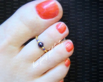 Toe Ring - Violet Pearl - Gold - Stretch Bead Toe Ring