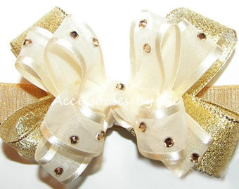 Glitzy Bow Band, Ivory Gold Headband, Girls Ivory Gold Bow, Rhinestones 3 Inch Small Bow Hair Band, Ivory Gold Wedding Baby Hair Bow Band