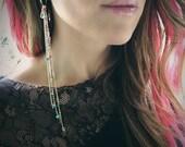 Summer Nights Moonstone Hoop Earrings,  Fringe Earrings, Duster Earrings, Hoop Earrings, Festival Earrings, Coachella Earrings