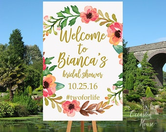 Printable Bridal Shower Welcome Sign, Floral Bridal shower sign, Gold and Blush decorations, Custom Bridal shower sign, Shower decor, BSWS38