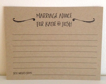 Marriage Advice Cards * Personalized Marriage Advice Cards