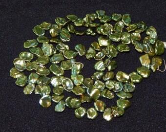 Green Coin Pearls Irregular Shaped