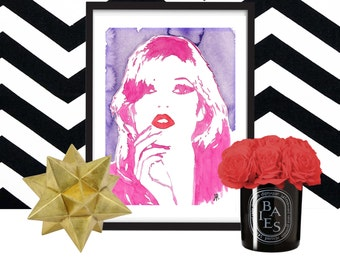 Kate Moss, print of pink, red, purple, fashion watercolor, SALE