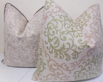 Floral Sunbrella Pillow Cover - Indoor/Outdoor Sunbrella Pillow- Deck Pillow Cover, Outdoor Cushion